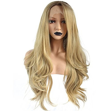 Anogol Hair Cap+Synthetic Blonde Lace Front Wig Ombre Dark Roots Wigs Long Wavy Side Part Hairstyles Half Hand Tied For Women Hair