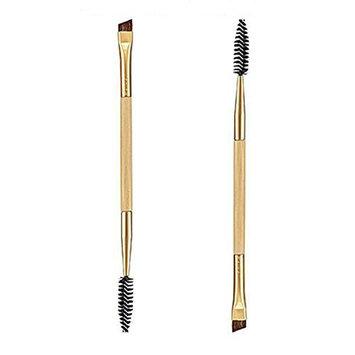 Cosmetic Bamboo Handle Double Eyebrow Brush + Eyebrow Comb Makeup Tools