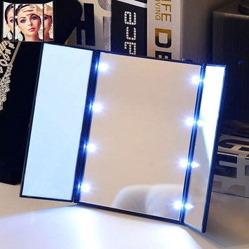EEEkit Makeup Cosmetic Mirror with 8 LED Lights, Stand Foldable Tri-Sided Tri-fold Lighted Beauty Vanity Mirror for Beauty Travel Compact Design