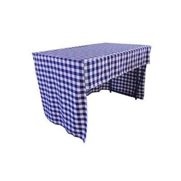 LA Linen TCcheck-OB-fit-72x30x30-RoyalK50 Open Back Fitted Checkered Classroom Tablecloth White & Royal Blue - 72 x 30 x 30 in.