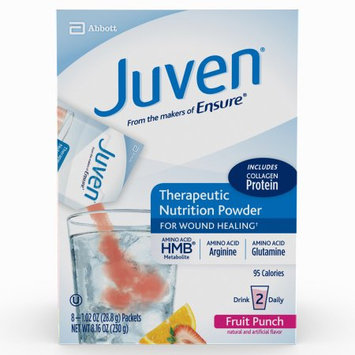 Abbott Juven Therapeutic Nutrition Drink Mix for Wound Healing, Fruit Punch, 8 packets, .85 Ounce Each