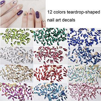 Lookathot 12 Colors Teardrop-shaped Nail Art Decals Gradient Colorful Pearl Metallic Studs Rhinestones Manicure DIY Decoration Tools