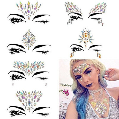 Autrix 6 Pack Rhinestone Face Gems Colorful Face Jewels Sticker Tattoo for Forehead Body Decoration (Pattern 2)
