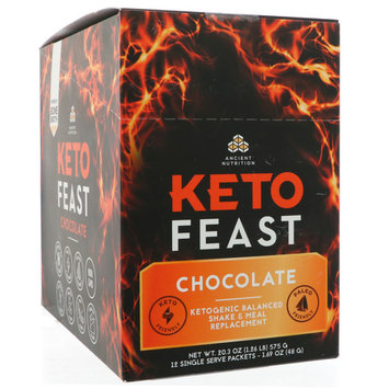 Dr. Axe / Ancient Nutrition, Keto Feast, Ketogenic Balanced Shake & Meal Replacement, Chocolate, 12 Single Serve Packets, 1.69 oz (48 g) Each [Flavor : Chocolate]