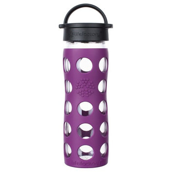 Glass Water Bottle with Classic Cap and Silicone Sleeve Core 2.0 Plum - 16 fl. oz.