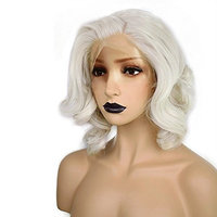 Anogol Hair Cap+ Light Platinum Blonde Lace Front Wig Synthetic Hair Short Curly Bob Wigs Glueless Natural Hairline For Women