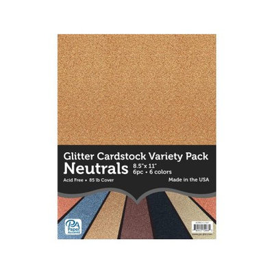 Accent Designs Variety Pack 8.5x11 6pc Ast Glitter Cdstk Neutrals