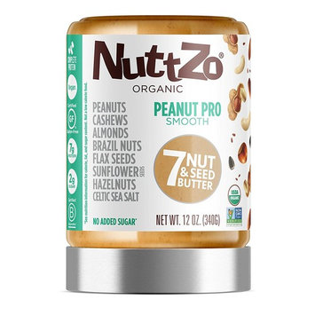 Nuttzo Organic Smooth Peanut Pro Seven Nut and Seed Butter, 12 oz [Smooth]