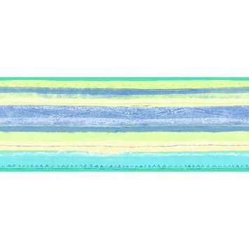 Blue Mountain Wallcoverings Blue Mountain MultiStripe Wallpaper Border, Pastel Blue/Green/Yellow