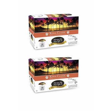Hawaiian Isles Kona Coffee Co. Kona Classic Single-Serve K-Cup Pods Compatible, Medium Roast, 10 Count (2 pack)