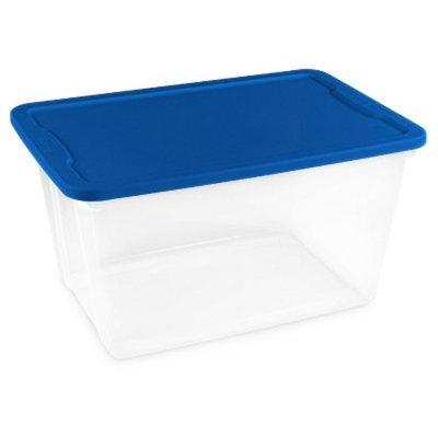 Homz® 56qt Storage Totes, Set of 8, Clear/Blue