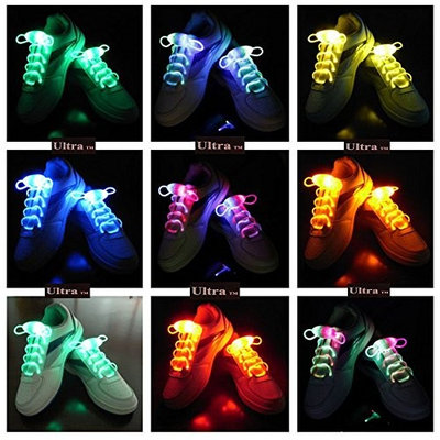 Ultra Mixed pack of 25 Cool LED Bright Light Up Waterproof Shoelaces Shoe laces for Trainers Shoes Blue Pink Orange White Green Colours for Parties Events Running Walking Gifts Discos Party Favours UK Stock Fibre Optic Shoe Laces [25 Mixed Pack]