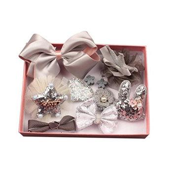 dds5391 10 Pcs Girl Bow Hairpin Ribbon Bowknot Flower Multi-Style Hair Clip Xmas Gift