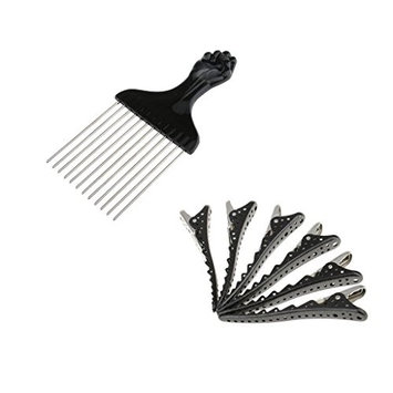 MagiDeal Stainless Salon Hair Cutting Styling Hairdressing Barber Brush Comb 6x Clips