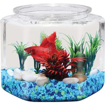 Hawkeye 1-Gallon Hex Fish Bowl, Shatterproof Plastic, 7.8