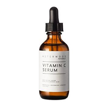 Vitamin C Serum 2 oz with Organic Hyaluronic Acid - Lighten Sun Spots, Anti Aging, Anti Wrinkle - Light and Oxygen Stable MAP Vitamin C - ASTERWOOD NATURALS - Classic Formula Bottle