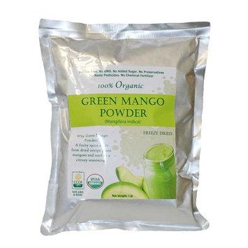 Indus Organics Green Mango Freeze Dried Powder, 1 Lb (Amchoor Powder) Raw, Sulfite Free, No Added Sugar, Freshly Packed