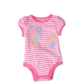 Garanimals Baby Girl Short Sleeve Graphic Stripe Bodysuit