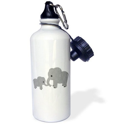 3dRose Mom and Baby Elephant, Sports Water Bottle, 21oz