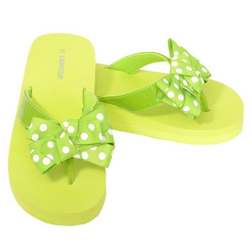 L'Amour Green Polka Dot Bow Wedge Flip Flops Sandals Little Girls 11-4