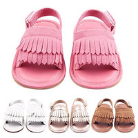 Summer Lovely Tassel Style Baby Girl Boy Toddlers Kids Sandals Shoes with Soft Anti-Slip Rubber Sole PU Upper Gold Size 12 Fits Babies Aged 6 to 12 Months