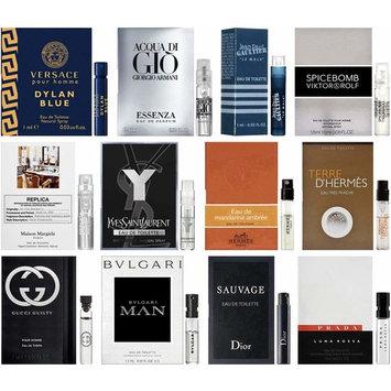 High End Designer Fragrance Sampler for Men - Lot x 12 Cologne Vials Dylan blue,Luna rossa,at the barber'sSpicebomb,Guilty,Ysl,Gio