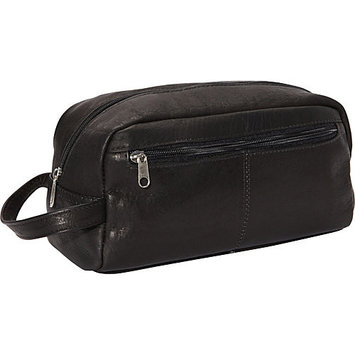 Mid-Sized Leather Shave Kit w Front Zippered Pocket (Black)