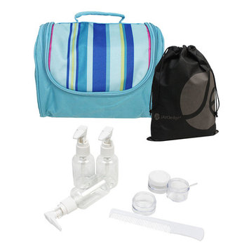 JAVOedge Stripped Hanging Toiletry / Cosmetic Organizer with 3 Pump Bottles, 2 Containers, Comb, Bonus Drawstring Bag
