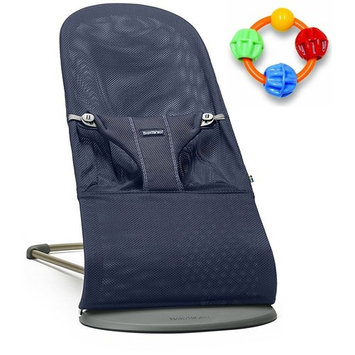 Baby Bjorn Bliss Bouncer Mesh - Navy Blue with Click Clack Balls Teether