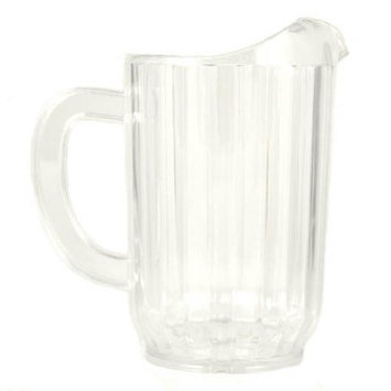 32 Oz. (Ounce) Water Beverage Serving Pitchers, Beer Pitcher, Restaurant Grade Heavy-Duty SAN Material Plastic Pitcher - Clear, Set of 6