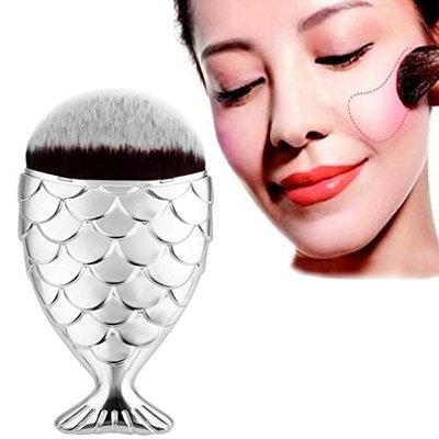 Bestpriceam Fish Scale Makeup Brush Fishtail Bottom Brush Powder Blush Makeup Cosmetic Brush (Silver)