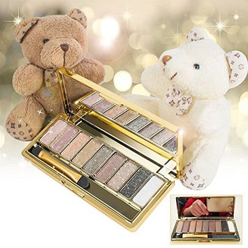 Pevor 9 Color Shimmering Eyeshadow Powder Long Lasting High Pigment Diamond Bright Pearl Eyeshadow with Shiny Gold Case and A Mirror Inside