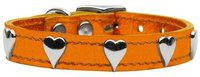 Mirage Pet Products 8314 16OrM Metallic Heart Leather Metallic Orange 16