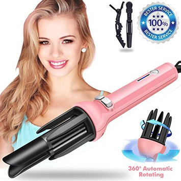 Hair Curling Iron - Professional Automatic Hair Curler Wand Instant Heat Curling Iron Hair Waver Automatic Roller 360 Rotating Roller with 3 Adjustable Temperature for Woman & Lady & Girls (Pink)