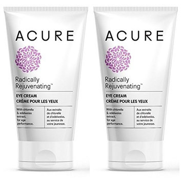 Acure Organics Radically Rejuvenating Eye Cream (Pack of 2) With Aloe Vera, Acai, Blackberry, Rosehips, Pomegranate, Chamomile, Rooibos, Cocoa, Sunflower, Edelweiss and Argan, 1 fl. oz. each