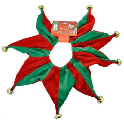 Pet Works Holiday Jester Collar with Bells Small