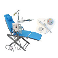 Hot Dental Portable Chair+LED Light Lamp+Triplex Syringe+Suction+Turbine Unit 4 Hole+LV-1 LV-1 Ultrasonic Piezo Scaler Compatible with EMS Woodpecker