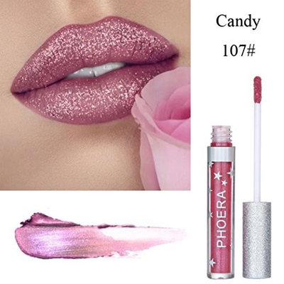 Sexy Gilliter Lipstick -Fheaven 8 Colors PHOERA Matte To Glitter Liquid Lipstick Waterproof Lip Gloss Makeup