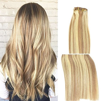 Clip in Human Hair Extensions 15Inch 7pcs 70g Set #18/613 Mixed Bleach Blonde Silky Straight Top Grade 7A Clip-in Hair Balayage Hair for Fashion women