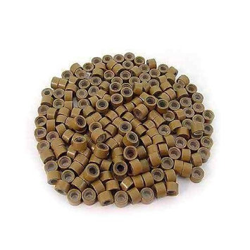 200 PCS 5mm Light Brown Color Silicone Lined Micro Rings Links Beads For I Bond Stick Tip Feather Hair Extensions