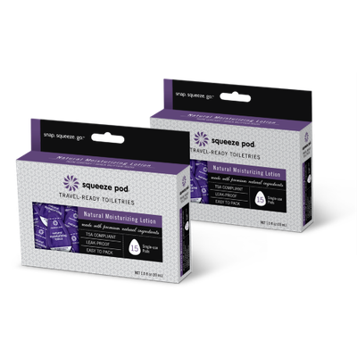 Squeeze Pod Single Use Natural Moisturizing Lotion - 30 Single Use Pods Dark Purple - Squeeze Pod Travel Comfort and Health