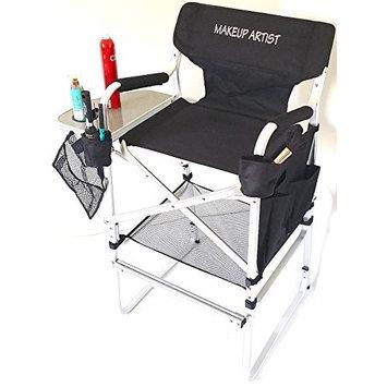 TuscanyPro Tall Makeup Chair --Side Tray, 2 Brush Holders--Mesh Trash Bag- -29