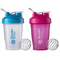 Blender Bottle 2-Pack Classic 20 oz. Shaker w/ Loop Top - Clear/Aqua & Pink