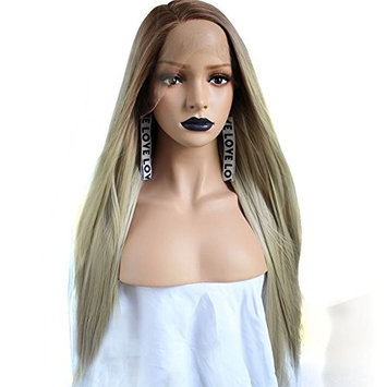Anogol Hair Cap+Blonde Lace Front Wig Synthetic Hair Long Straight Ombre Dark Roots Half Hand Tied Heat Resistant Fiber Wigs