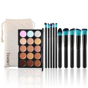 Tinksky Contour Face Cream Makeup Palette with 10pcs Makeup Brushes ,15 Colors (Black+Blue)