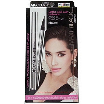 Mistine Maxi Black Eyeliner.a Pen, a Brush Made Freely Draw Water Resistant, Easy to Wash Off. (Pack of 1)