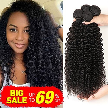 Bestsojoy Brazilian Kinky Curly Virgin Hair Extensions 3 Bundles(18 20 22)10A Unprocessed Brazilian Curly Human Hair Weave Natural Color Can be Dyed and Bleached