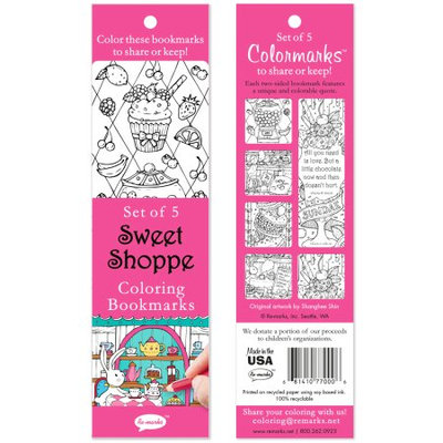 Re-marks Coloring Bookmarks 5/Pkg-Sweet Shoppe