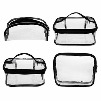 Baoblaze Clear Makeup Bags, 4 Pack Travel Toiletry Cosmetic Bag Portable Waterproof PVC Organizer Case for Men & Women(Large/Medium/Small)