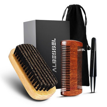 Beard Brush & Comb Set For Style Beard and Hair - 100% Black Boar Bristles and Sandalwood, Tweezer for Clearing Out the Matted Hair in the Brush